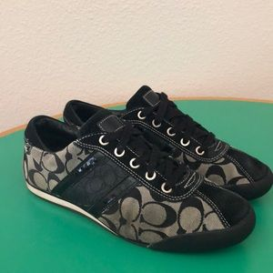 Coach Black Monogrammed Laced Athletic Flats 10